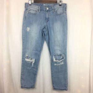 Destroyed GAP Sexy Boyfriend Jeans Light Wash Sz 6